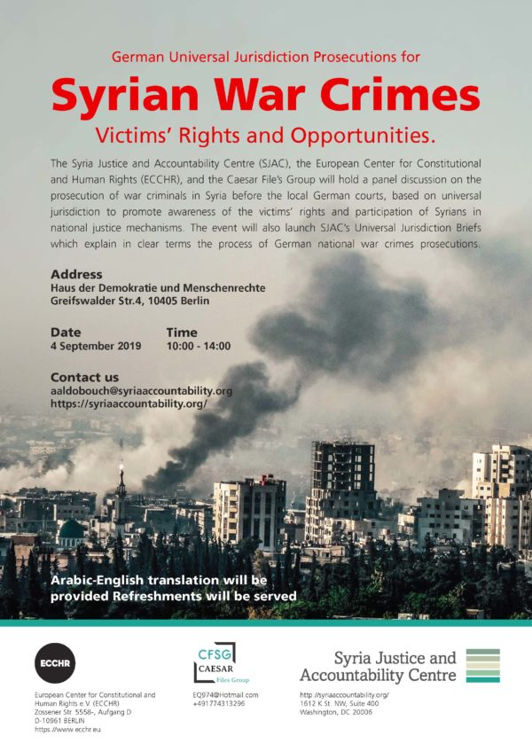 EVENT: Syrian war crimes: victims' rights and opportunities