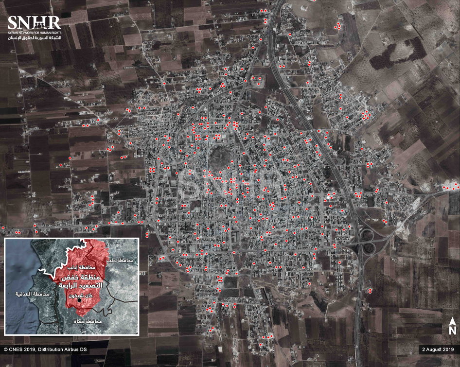 Satellite Images Obtained by SNHR Prove the Extent of Massive Destruction Inflicted on Khan Sheikhoun City