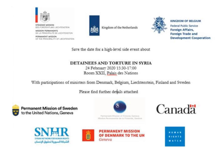 Geneva: SNHR participates in a high-level side event at the UN Human Rights Council HQ on the issue of detainees and torture in Syria